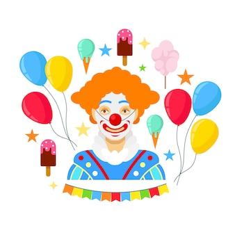 Clown en kleurrijke ballonnen