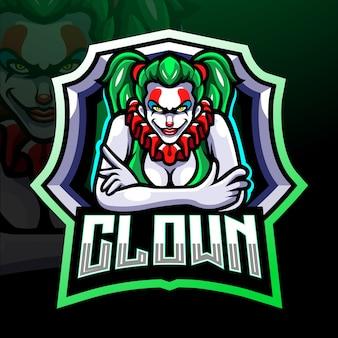 Clown esport logo mascotte ontwerp
