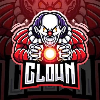 Clown esport mascotte logo ontwerp Premium Vector