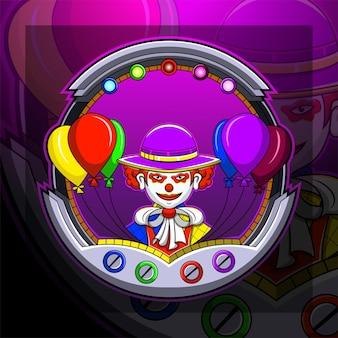 Clown esport mascotte logo ontwerp