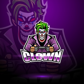 Clown esport mascotte logo sjabloon