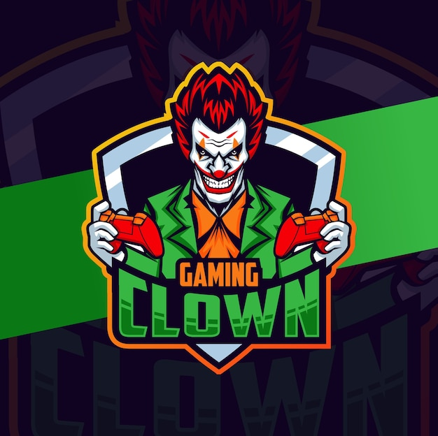 Clown gamer mascotte esport lgoo design karakter Premium Vector