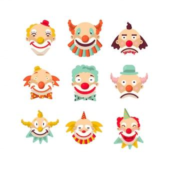 Clown gezichten geïsoleerde tekenset.