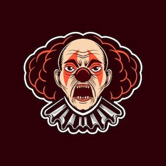 Clown hoofd karakter open mond