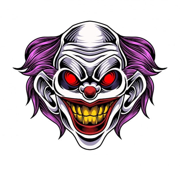 Clown hoofd mascotte logo