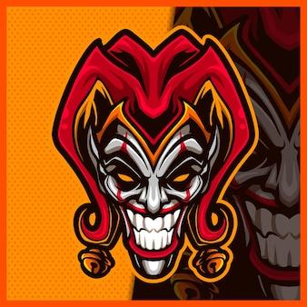 Clown jester mascotte esport logo-ontwerp smile clown-logo voor teamgame-streamer