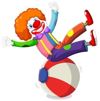 Clown karakter show zittend op de bal geïsoleerd op wit