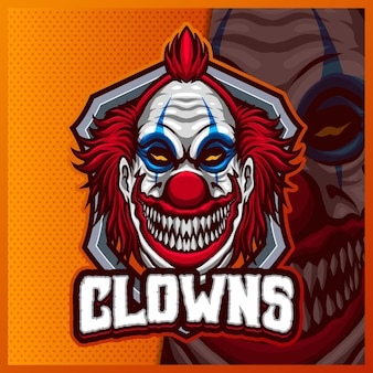 Clown mascotte esport logo ontwerp illustraties sjabloon, joker-logo voor teamspel