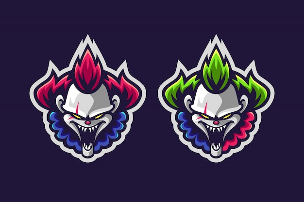 Clown mascotte logo optie kleur