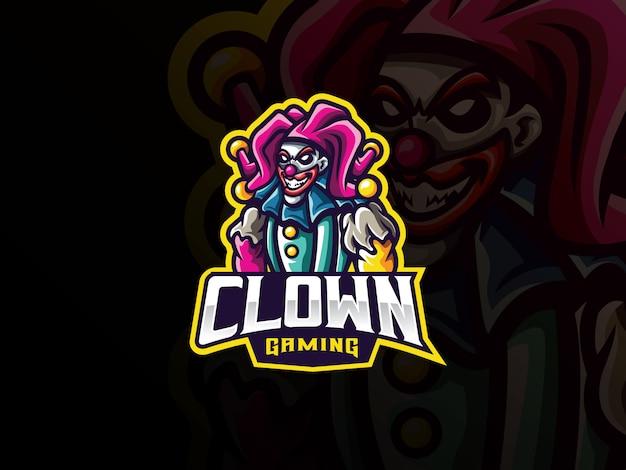 Clown mascotte sport logo ontwerp