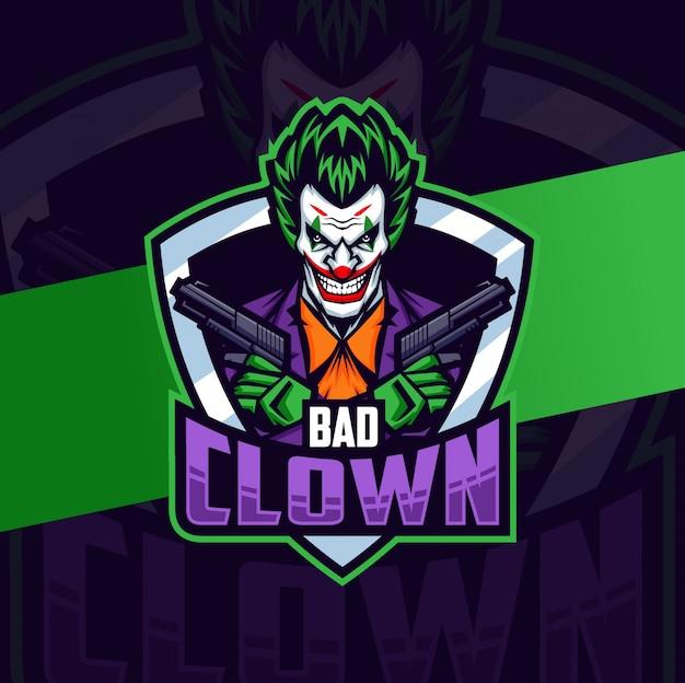 Clown met pistool mascotte esport logo ontwerp
