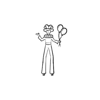 Clown op stelten hand getrokken schets doodle pictogram. circusartiest op wandelaars schets vectorillustratie voor print, web, mobiel en infographics geïsoleerd op een witte achtergrond.