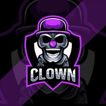 Clown schattig mascotte logo esport sjabloon