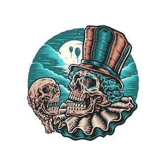 Clown schedel met de hand getekend