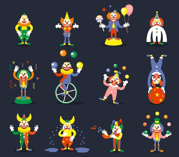 Clown vector tekens instellen. glimlach of huil, jongleer met artiest, toon carnaval, komiek en jokerillustratie
