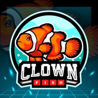 Clown vis mascotte. esport logo ontwerp.