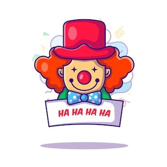 Clown zegt bericht aan dwazen dag illustratie in platte cartoon-stijl
