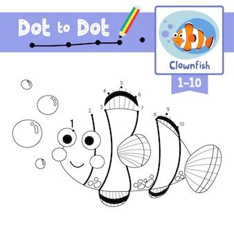 Clownfish punt om spel en kleurboek te stippelen