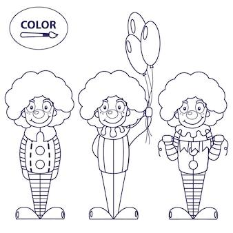 Clowns. een afbeelding om in te kleuren.