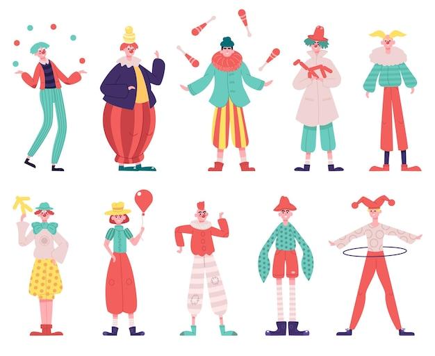 Clowns karakters geïsoleerd op wit