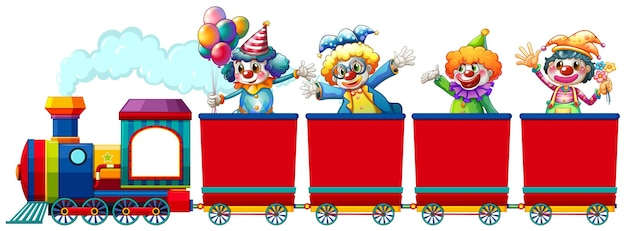 Clowns rijden op de trein