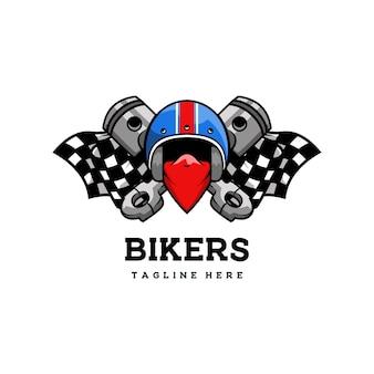 Club biker garage klassieke retro badge racer helm