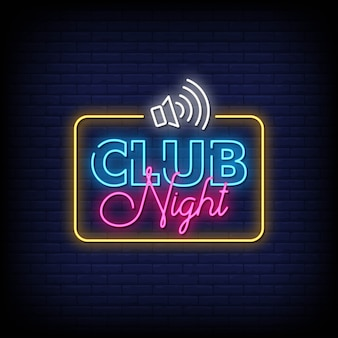 Club night neon signs style text