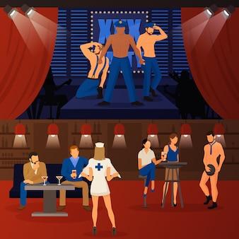 Club striptease banners set