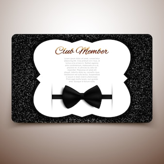 Clublid kaartsjabloon, herenclub, vip-kaart, zwarte strik
