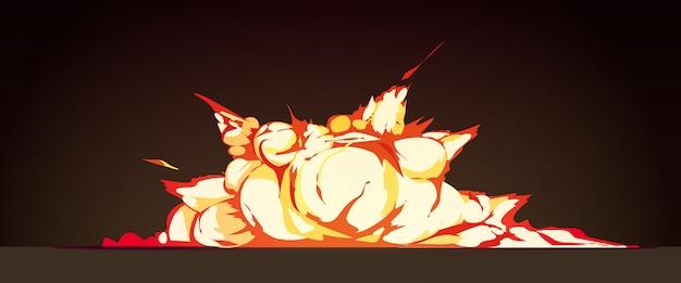 Clusterexplosie bij nacht retro beeldverhaal met heldere vlam gekleurde ontploffingen tegen zwarte vectorillustratie als achtergrond