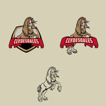 Clydesdale paard logo set