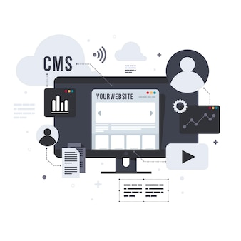 Cms concept illustratie in plat ontwerp