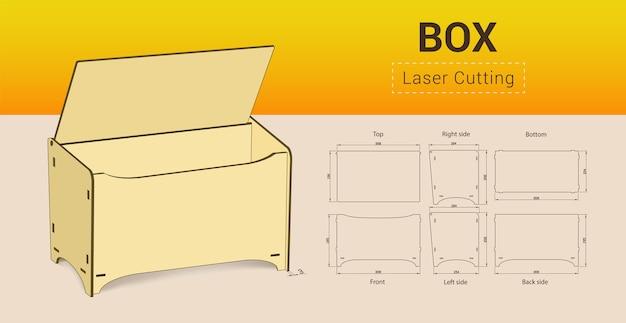 Cnc. lasersnijden doos. geen lijm. illustratie.