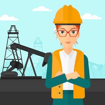 Cnfident olie-werker.