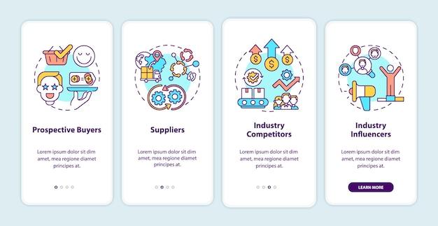 Co-creatie deelnemers onboarding mobiele app pagina scherm met concepten. potentiële kopers, leveranciers doorloopstappen. ui-sjabloon met rgb-kleur