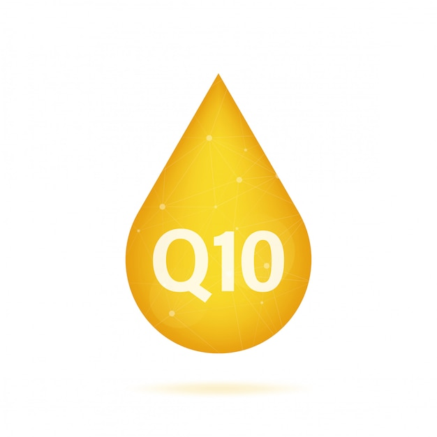 Co-enzym q10. gouden olie icoon. enzym drop capsule. stock illustratie.