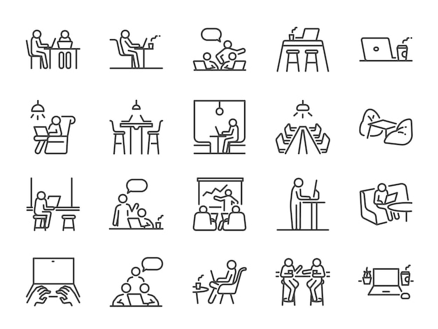 Co-working space lijn icon set.