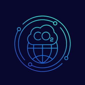 Co2-gas, kooldioxide vervuiling lijn vector icon