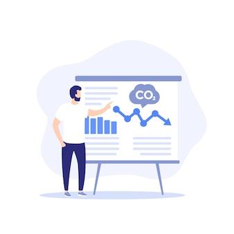 Co2-gas, presentatie van co2-emissiereductie, man die gegevens presenteert