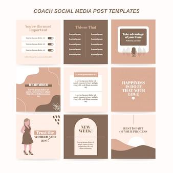 Coach social media postsjabloon gratis vector