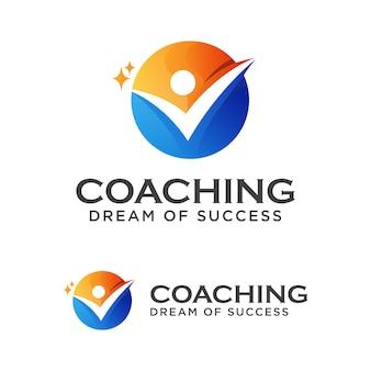 Coach succes logo, coaching dream of succes logo ontwerpsjabloon