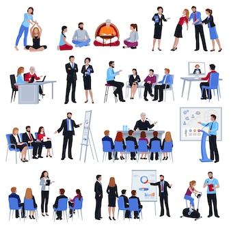 Coaching mentorschap discipelschap platte icons set