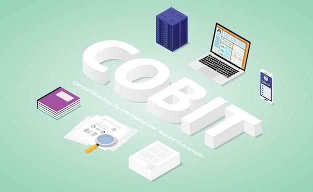 Cobit-besturingsdoelstellingen voor informatie en gerelateerde technologieën met moderne isometrische stijl