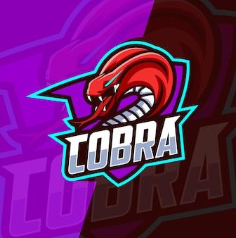Cobra mascotte esport logo ontwerp