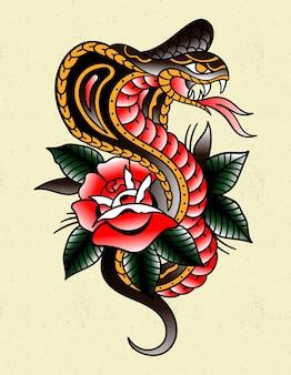 Cobra-tatoeage traditioneel