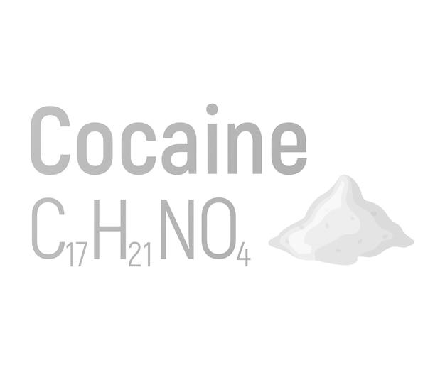 Cocaïne concept chemische formule pictogram label, tekst lettertype vectorillustratie, geïsoleerd op wit. periodieke elemententabel, verslavende drugs.
