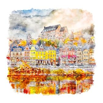 Cochem duitsland aquarel schets hand getrokken illustratie