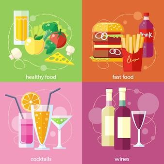 Cocktail drink vruchtensap. biologische voedingsproducten voor de gezondheid. fast food frieten hamburger frisdrank drinken.