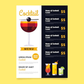 Cocktail drinkt menu concept