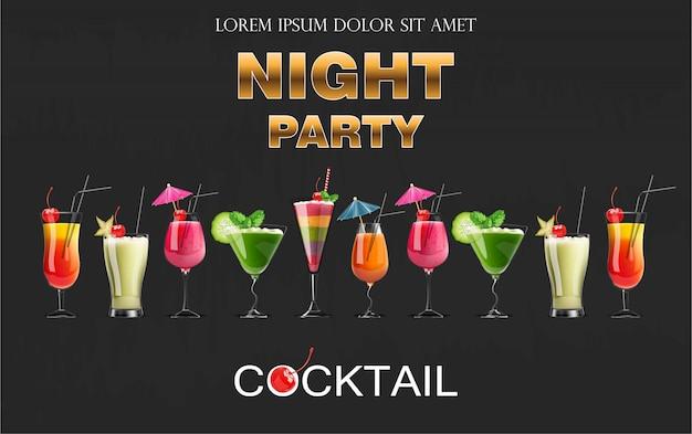 Cocktail drinkt realistische banner